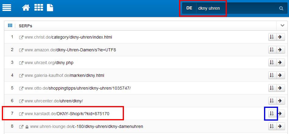 Rankingposition samt URL im SERP-Archiv nachvollziehen