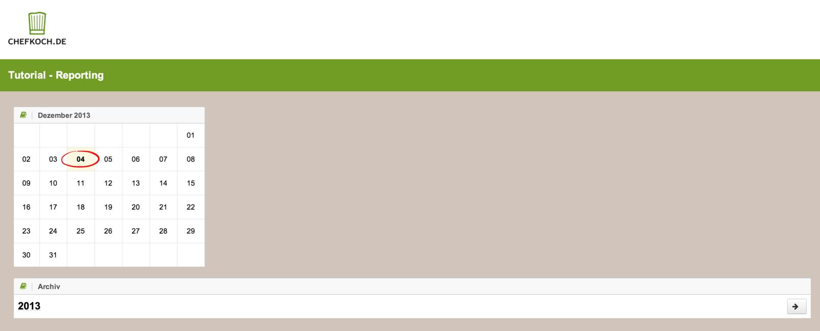 Online-Archiv für Chefkoch als Beispiel