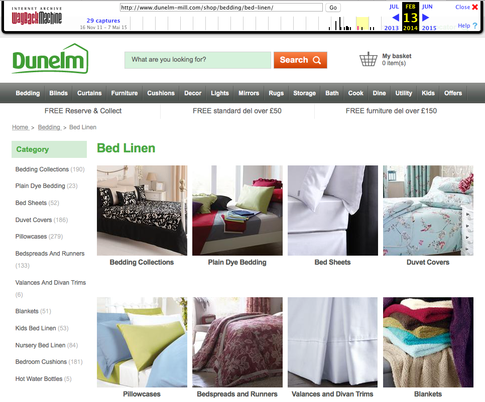 The URL .../bed-linen/ on 14 Feb 2014