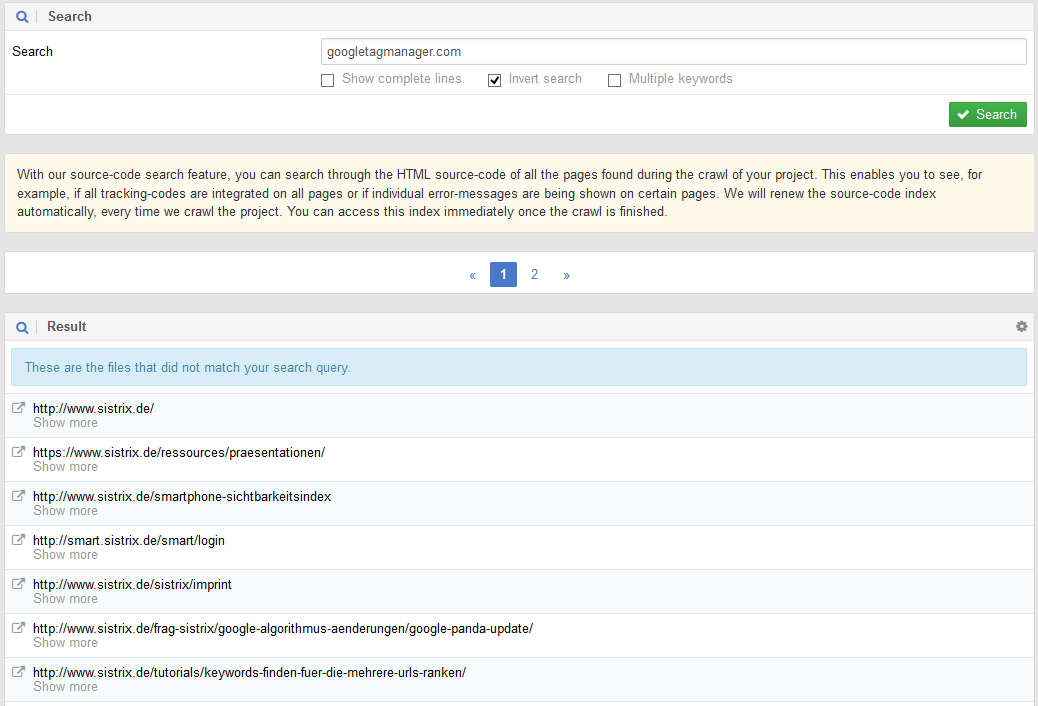 SISTRIX Optimizer Code Search with inverted search option for the phrase googletagmanager.com