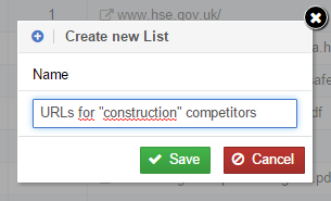 Create a new list: choose a name
