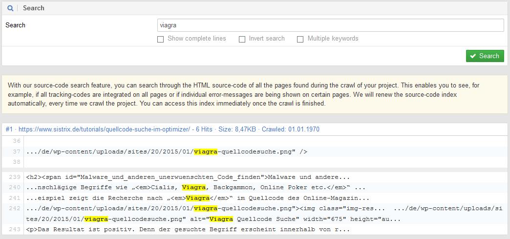 SISTRIX Optimizer Code Search for viagra on sistrix.de