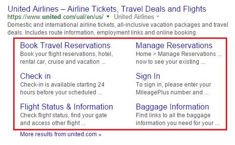 Expanded Sitelinks (marcados en rojo) en el ejemplo de la búsqueda