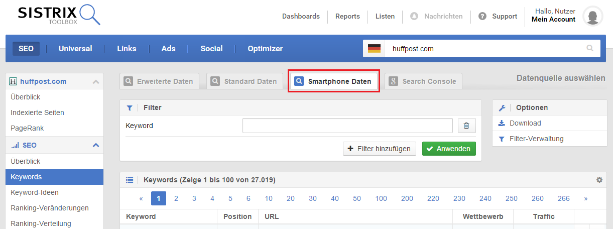 Smartphone keywords for huffpost.com in the German index