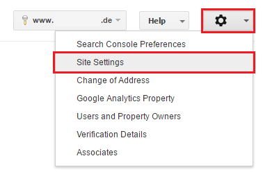 Paramètres de Site Web dans la GSC