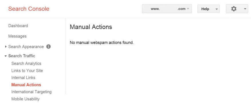 Search Console manual actions page