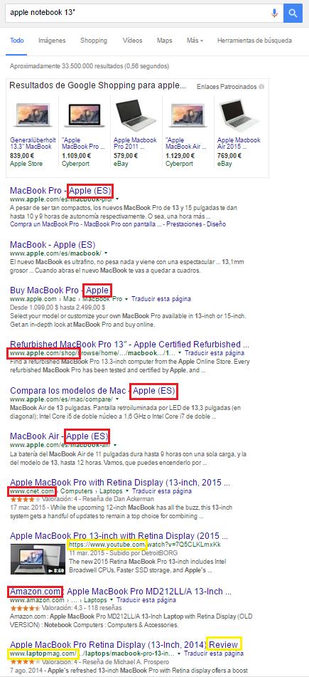 """Primeros resultados de búsqueda en Google.es para la búsqueda [apple notebook 13""""]"""