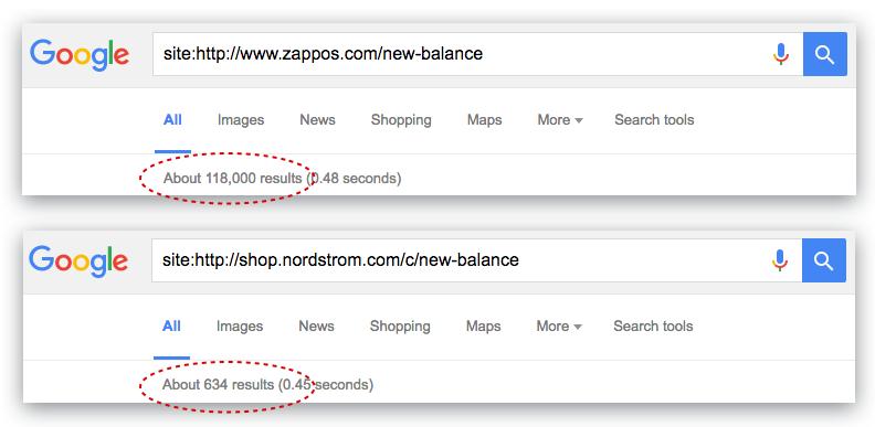 Ejemplo para el número de documentos indexados por Google