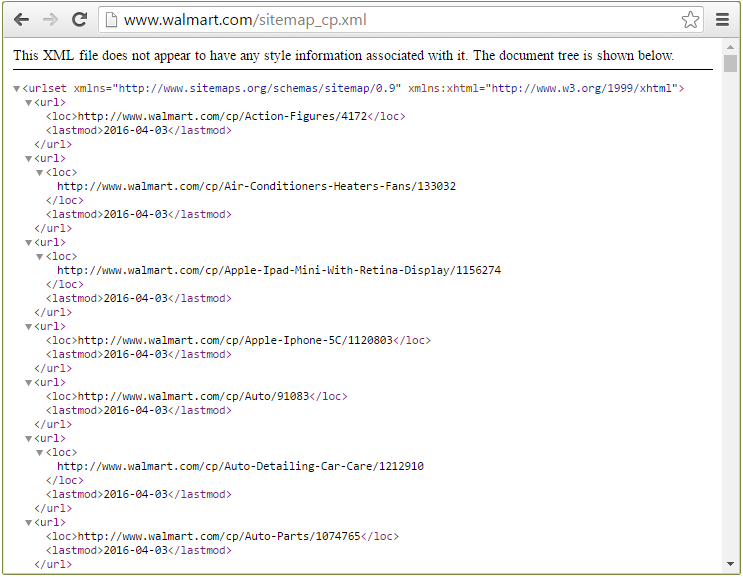 Opening an XML-sitemap in a web browser – here for walmart.com