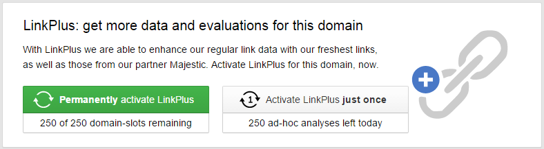One time LinkPlus ad-hoc analysis