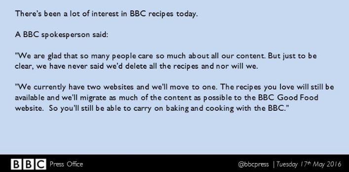 Petition response from the BBC