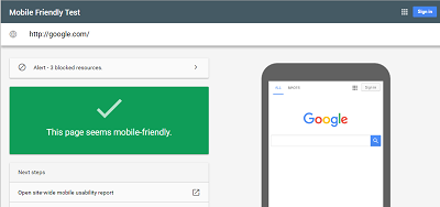 Google Mobile Friendly Test