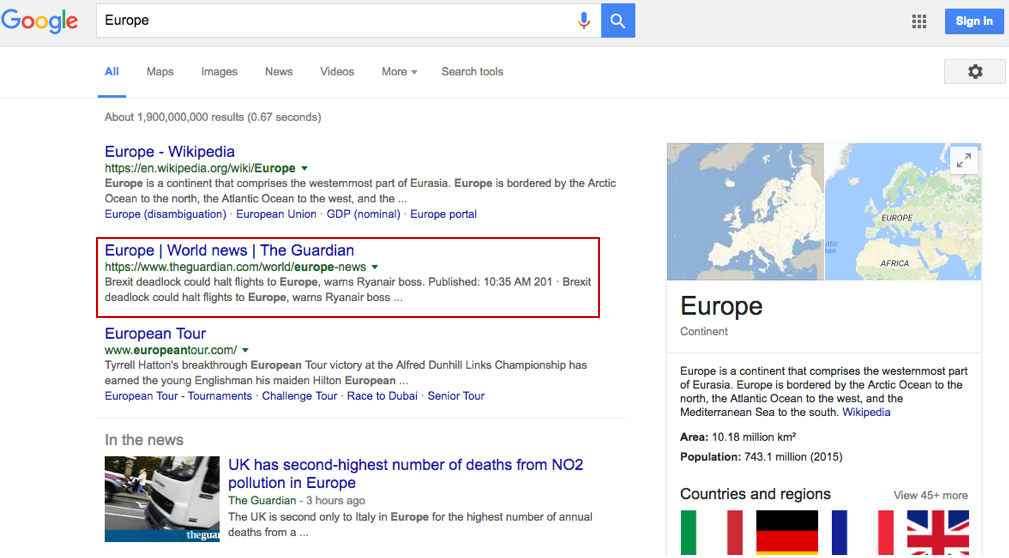 "SERPs for the keyword ""Europe"""