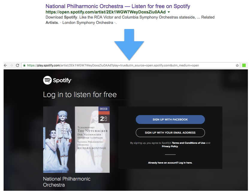 Snippet for Spotify.com on Google.co.uk