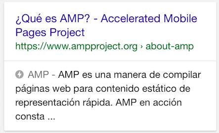 Ejemplo de un resultado AMP en móviles.