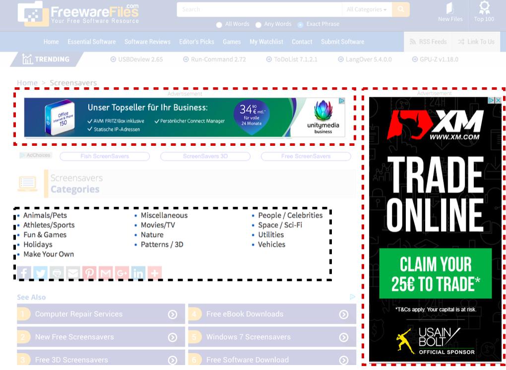 """Ejemplo para laKeyword """"Screensavers"""". La marcación roja es publicidad y la negra el contenido."""