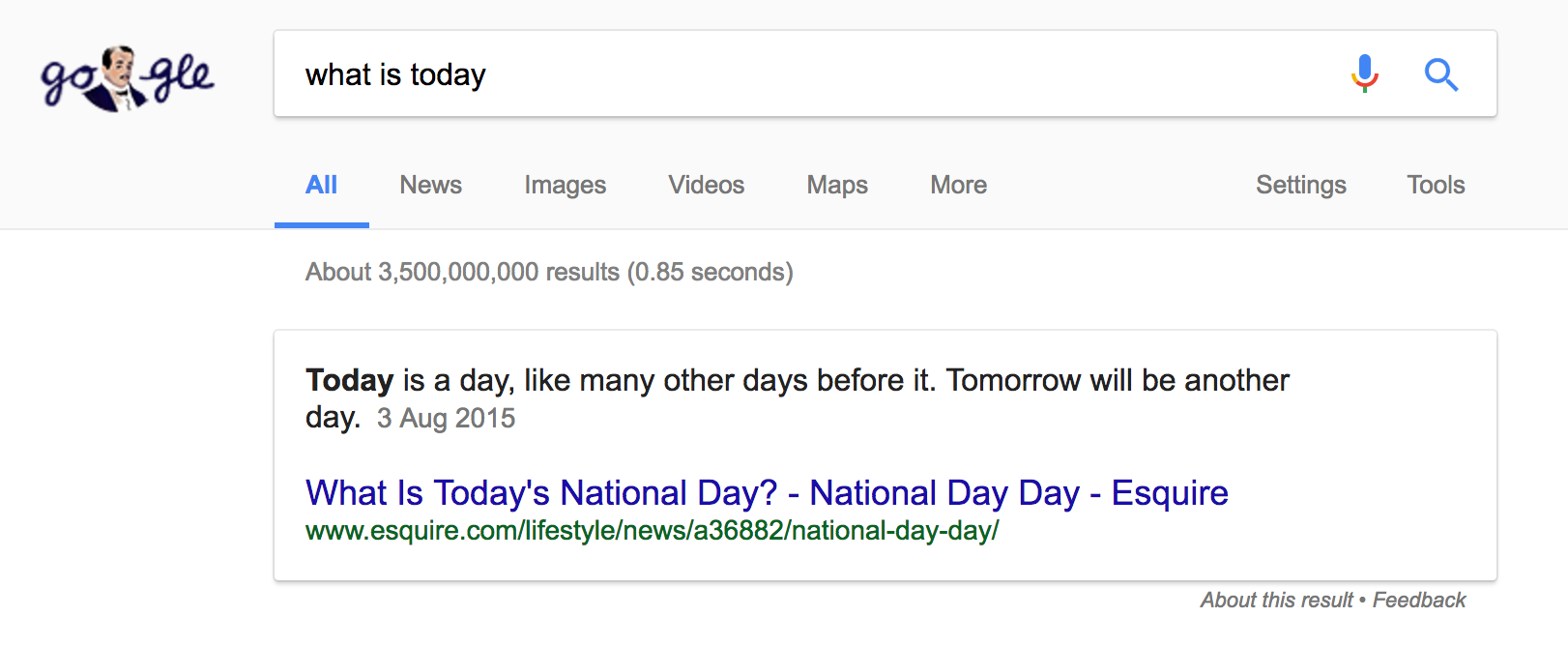 "Featured Snippet for the query ""what is today?"""