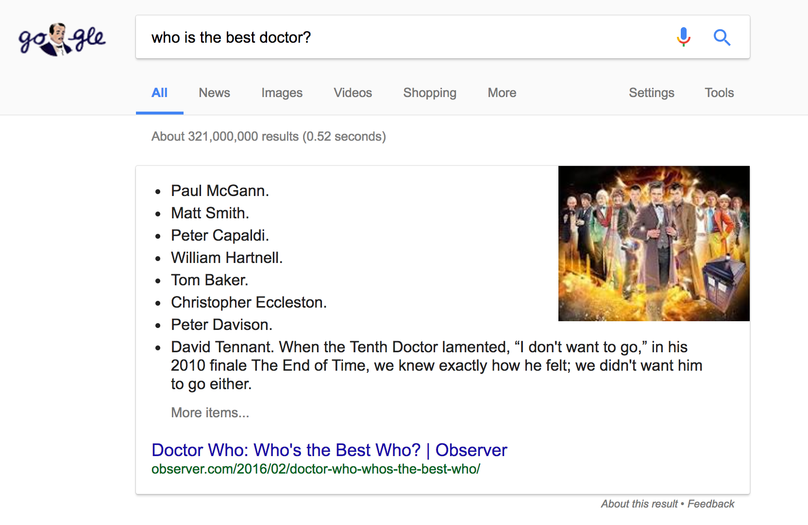 "Featured Snippet for the query ""Who is the best doctor?"""