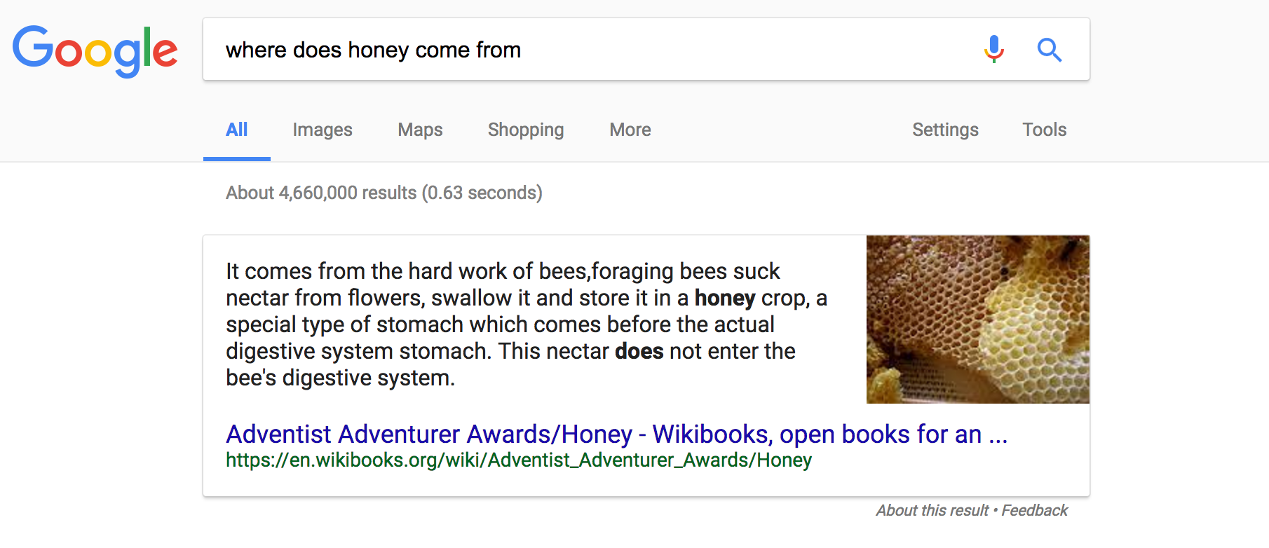 "Featured Snippet for the query ""where does honey come from?"""