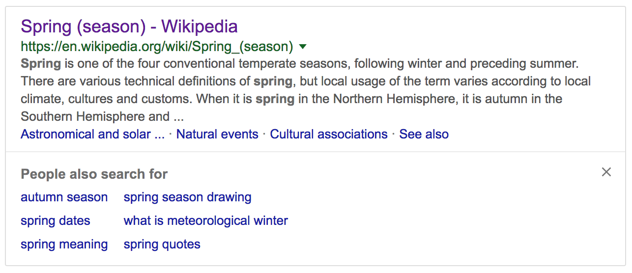 People also searched for box - shown when users return to the SERP.