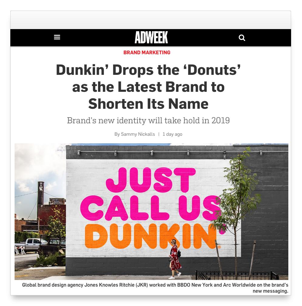Imagen de la publicidad exterior de Dunkin Donuts con el cambio de nombre a Dunkin
