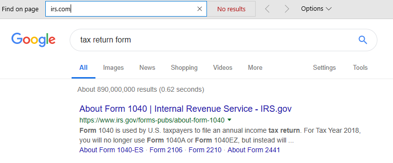irs.com removed from SERP