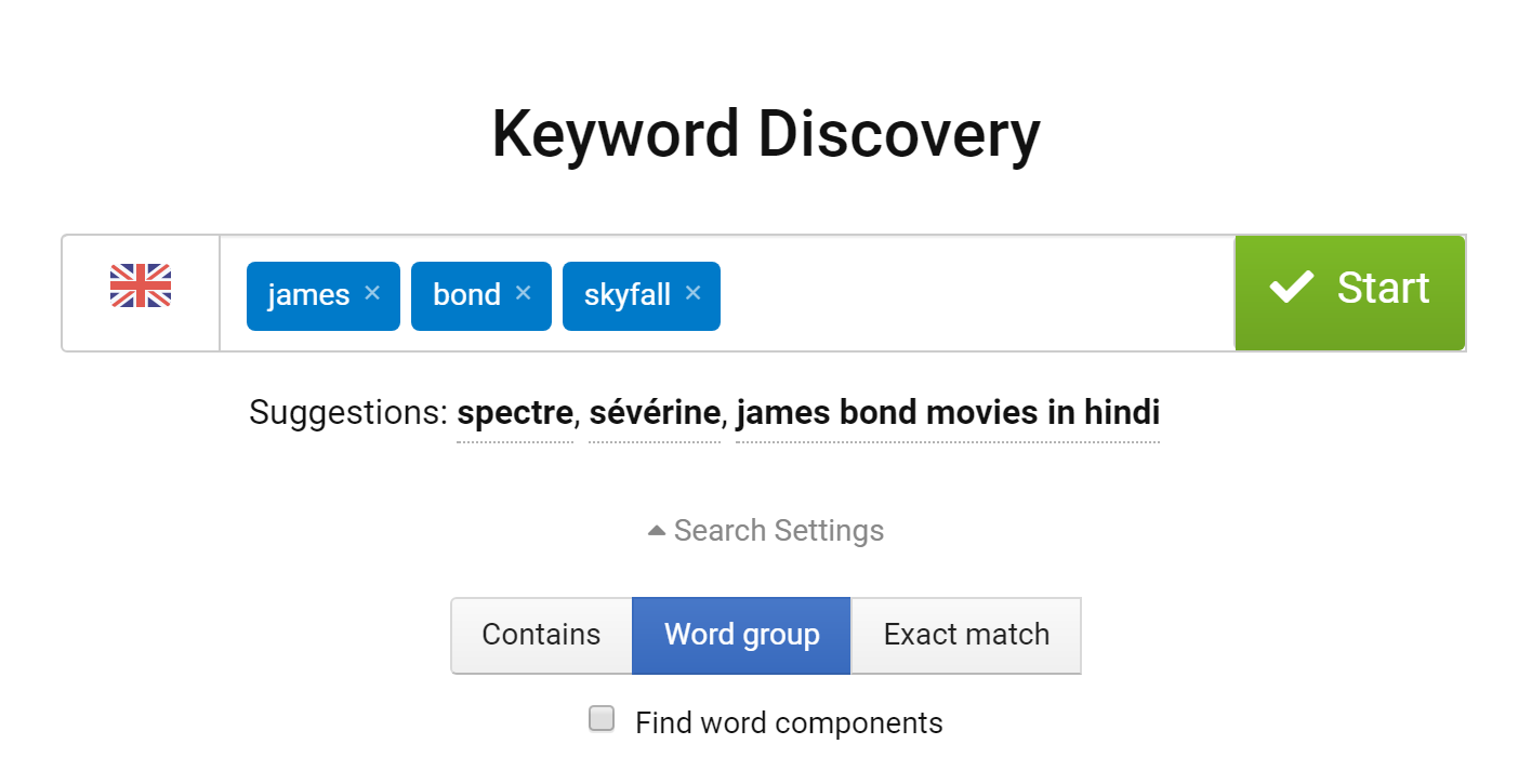 The tool Keyword Discovery