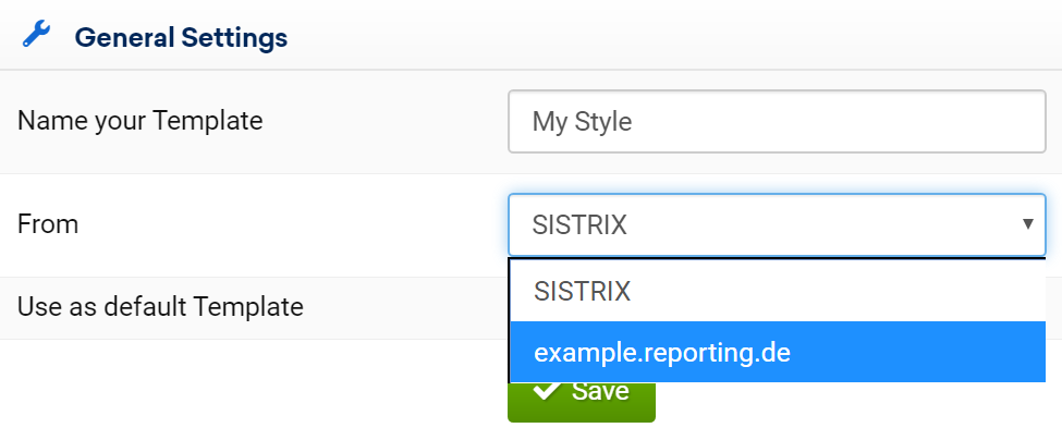 SISTRIX Toolbox: changing the default template for reports