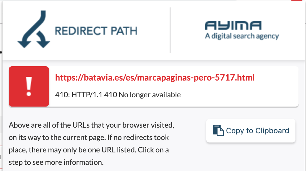 Use Redirect Path to analyse a URL and detect 410 errors.