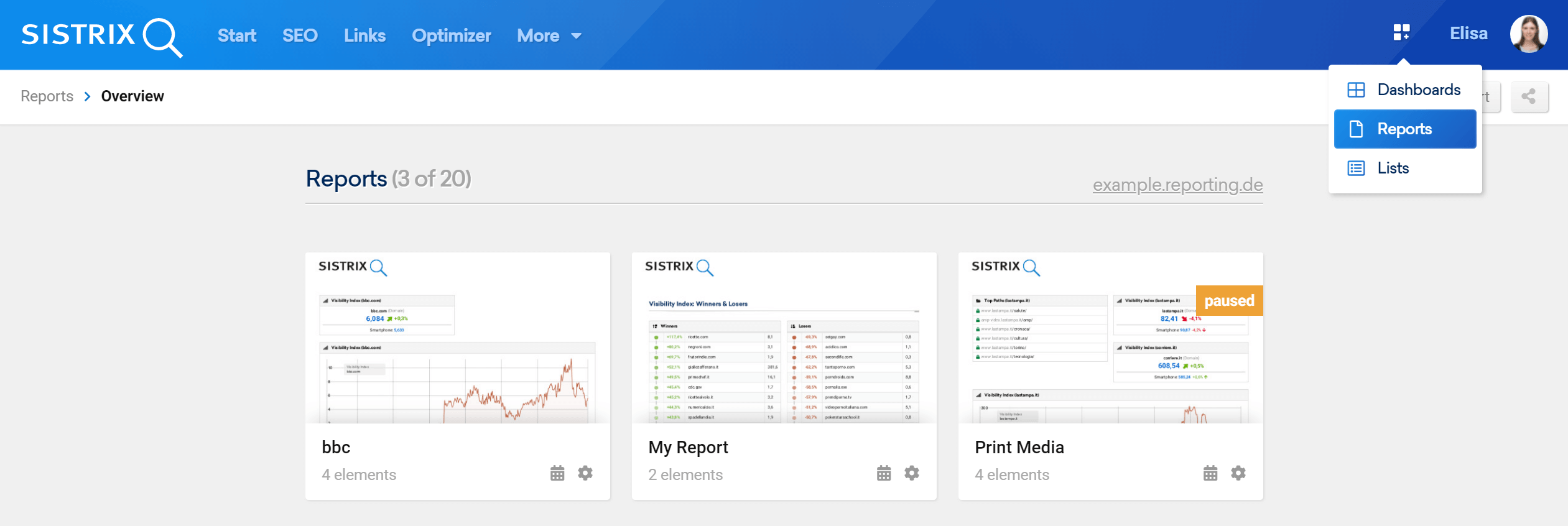 SISTRIX Toolbox: overview page for reports
