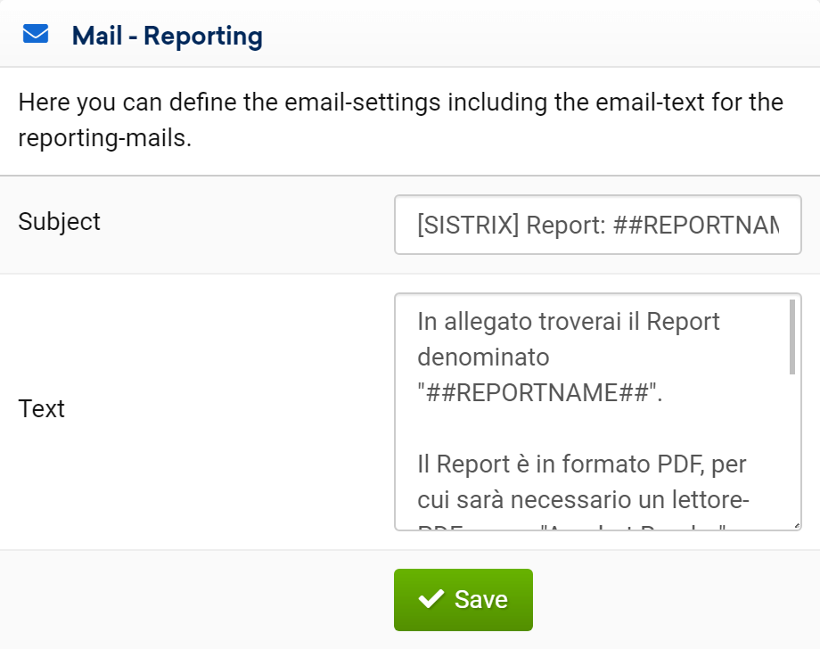 SISTRIX Report: changing the email in template design for reports