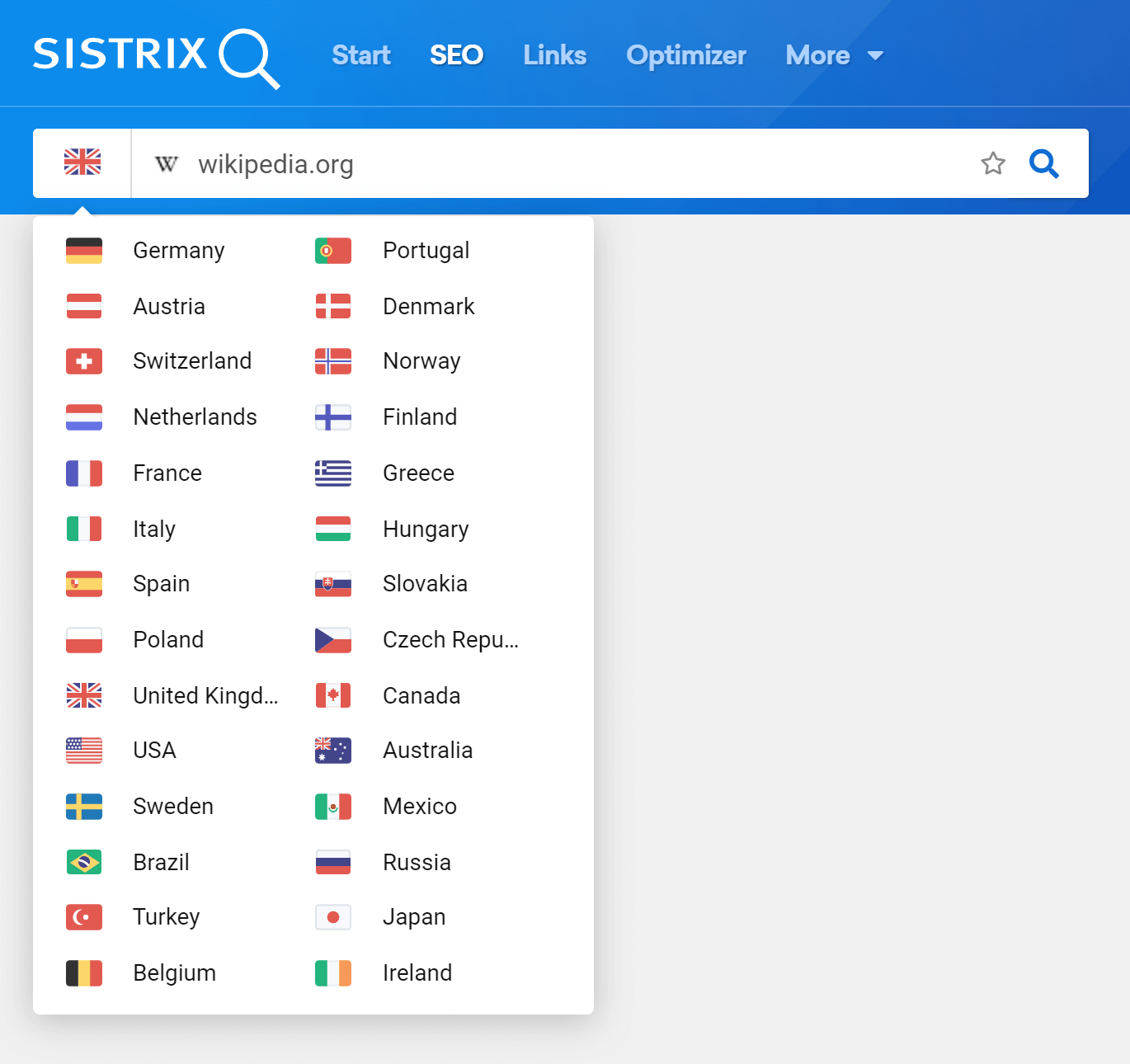 Change the flag in front of the domain to analyze the data for that specific Country in the SÍSTRIX Toolbox