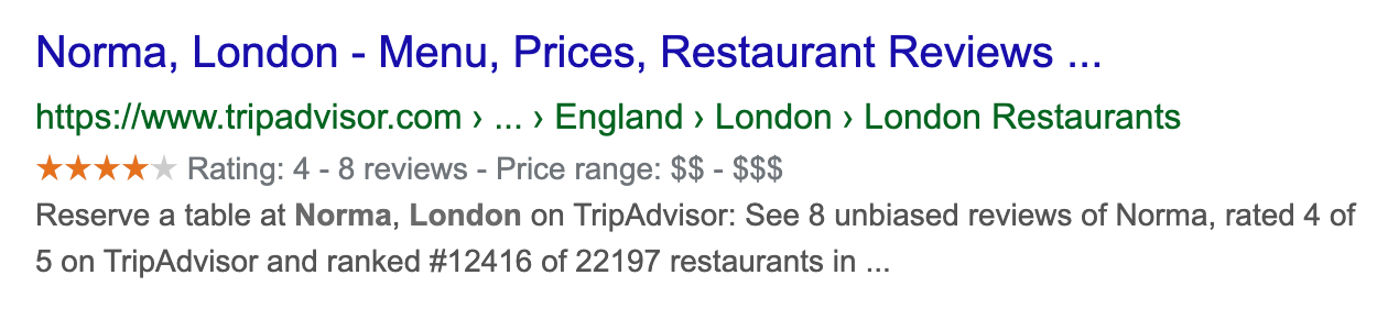 Google search result for a restaurant in London on the domain tripadvisor.com. The result shows a rating of 4 our of 5 stars.