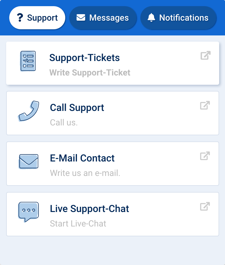 Image of the support button interface within the Toolbox. In the first tab, support, you can choose how to contact the SISTRIX Support. By ticket, phone, email or live-chat.