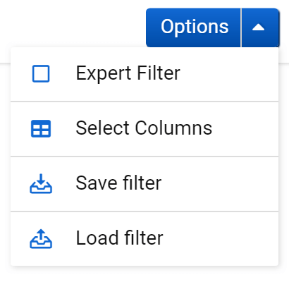 Options menu for the table Opportunities in the SISTRIX Toolbox