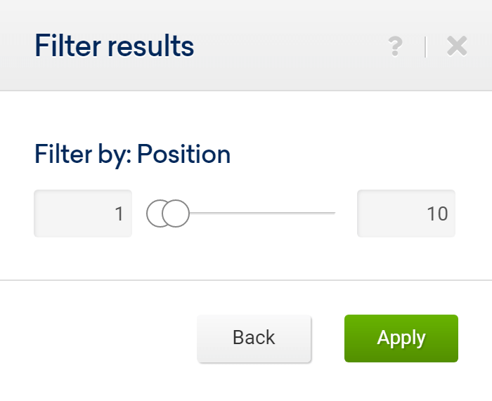 Filter by position to see the Top-10 results in the SISTRIX Toolbox