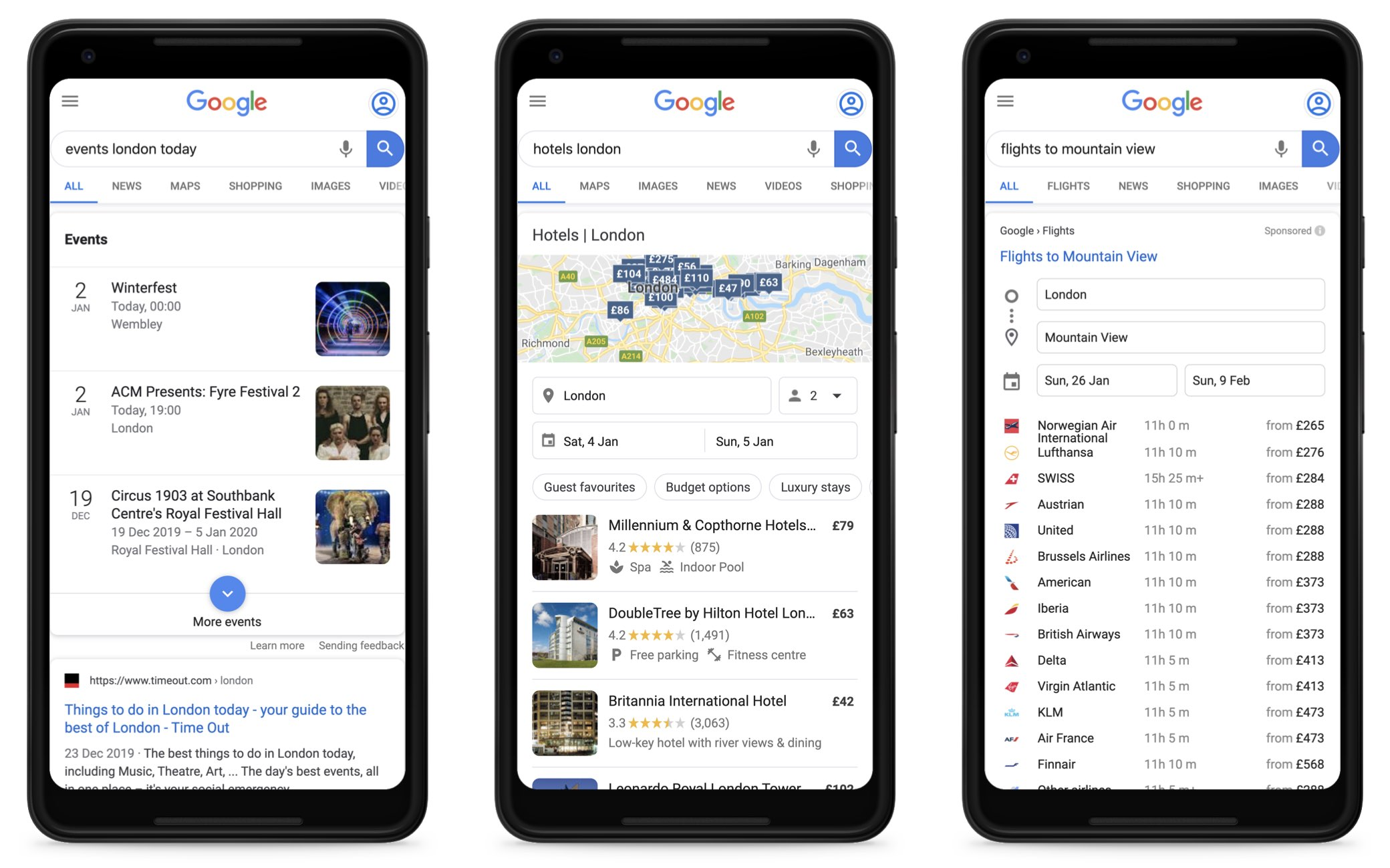"Three screenshots with Google searches on a smartphone screen. The first is for ""events london today"", the second for ""hotels london"" and the third for ""flights to mountain view"". Each time, a Google owned information box for each industry is shown."