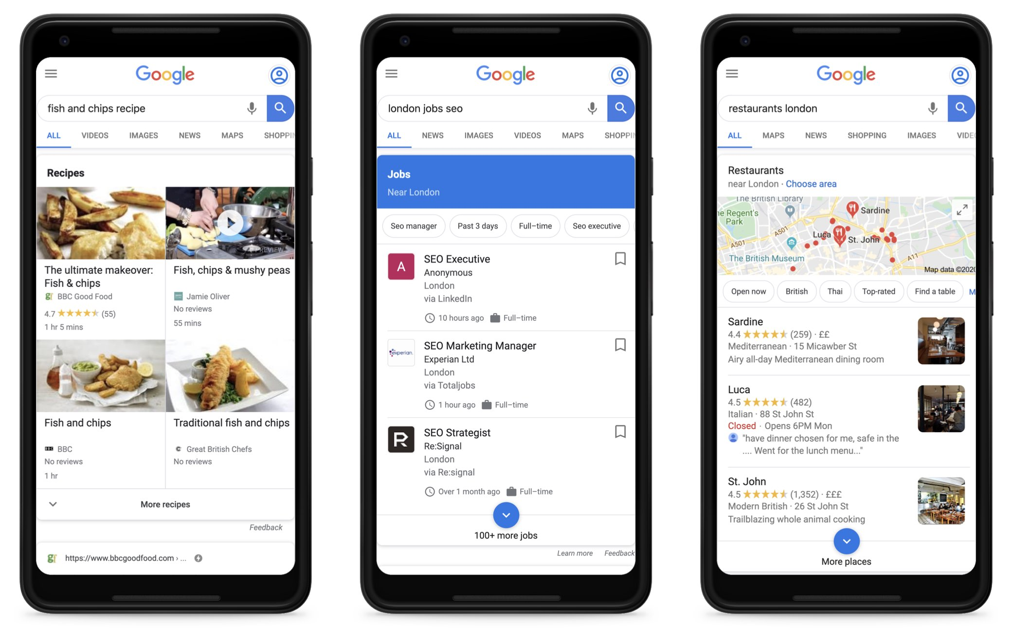 "Three screenshots with Google searches on a smartphone screen. The first is for ""fish and chips recipe"", the second for ""london jobs seo"" and the third for ""restaurants london"". Each time, a Google owned information box for each industry is shown."
