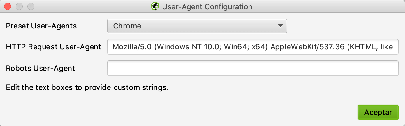 User-agent configuration in Screaming Frog