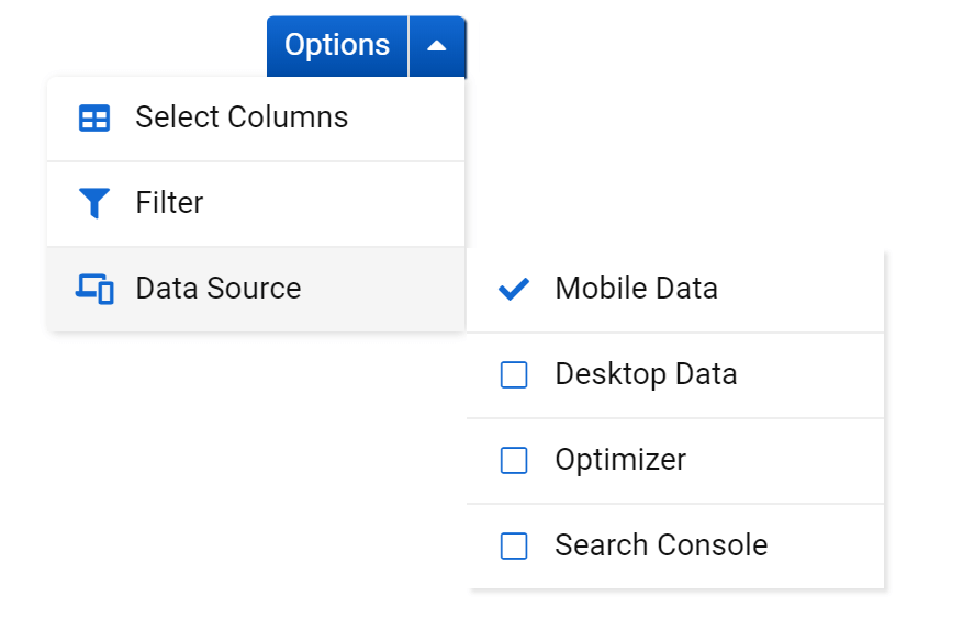 Options of the Keyword table
