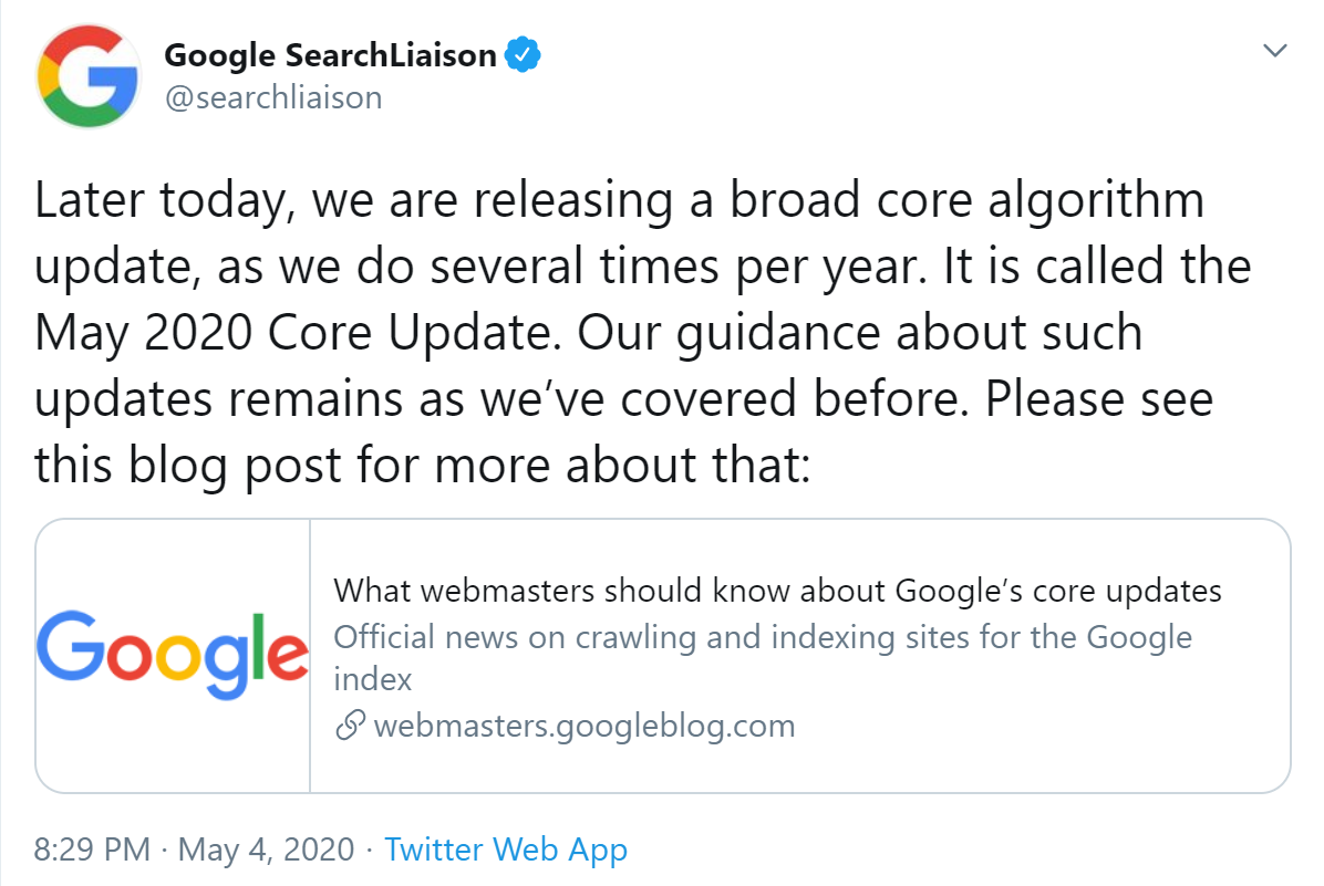 Core Update May 2020 Twitter announcement