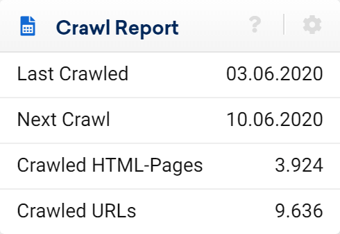 Crawl report of an Optimizer project