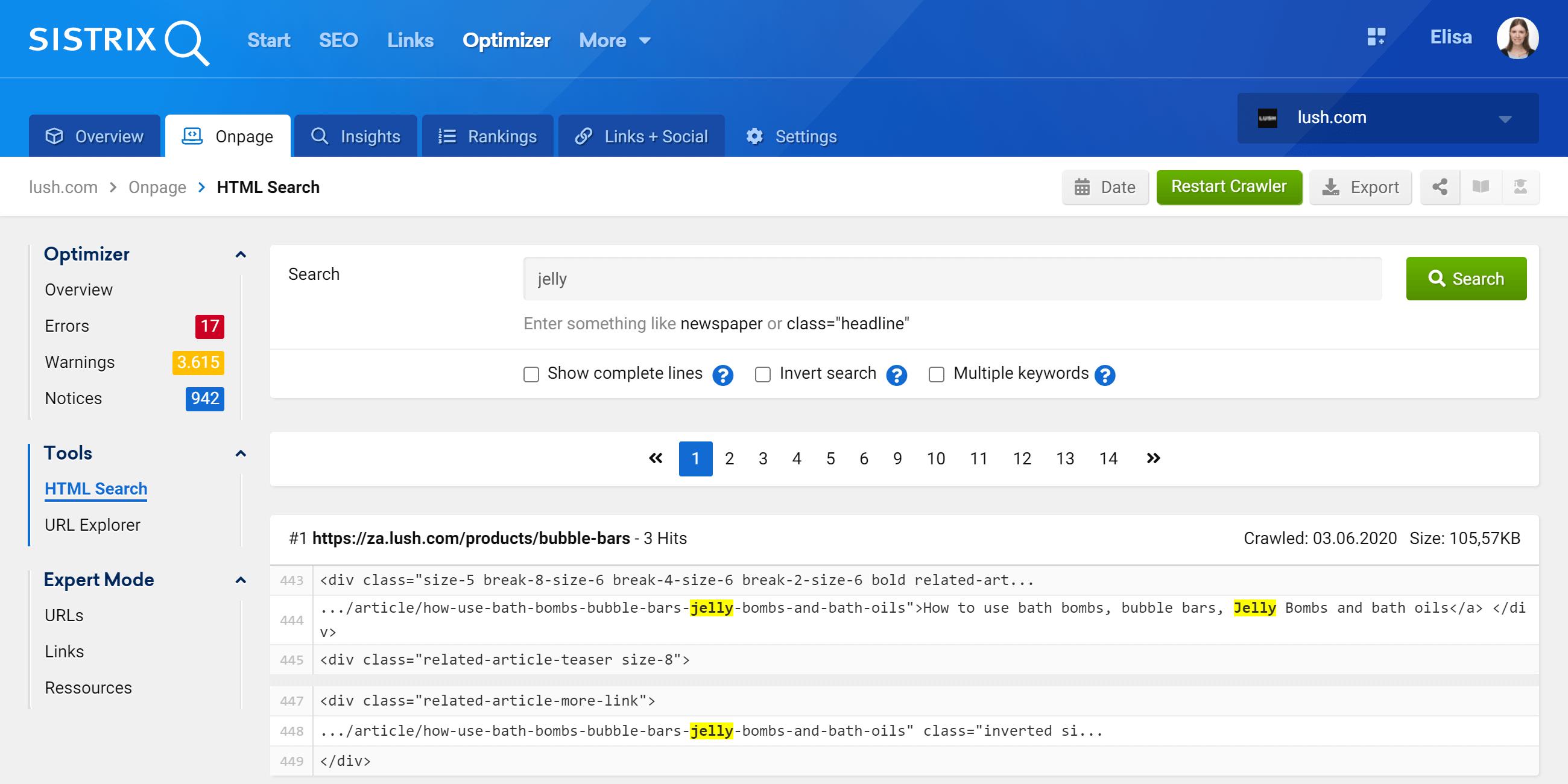 HTML Search in the SISTRIX Optimizer
