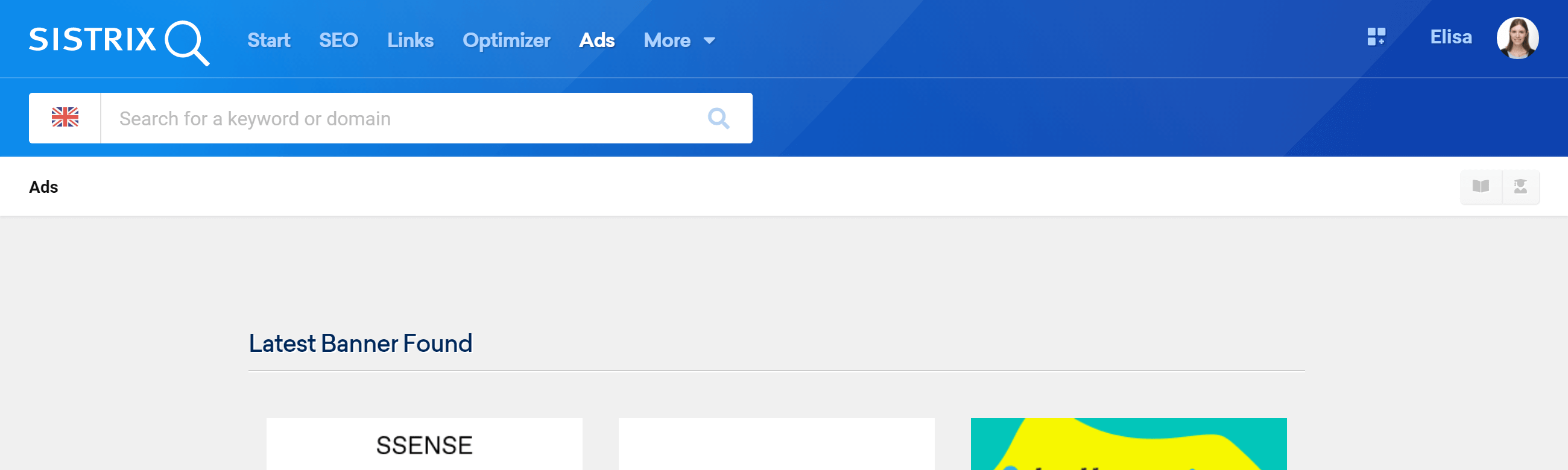 Startpage of the Ads Module