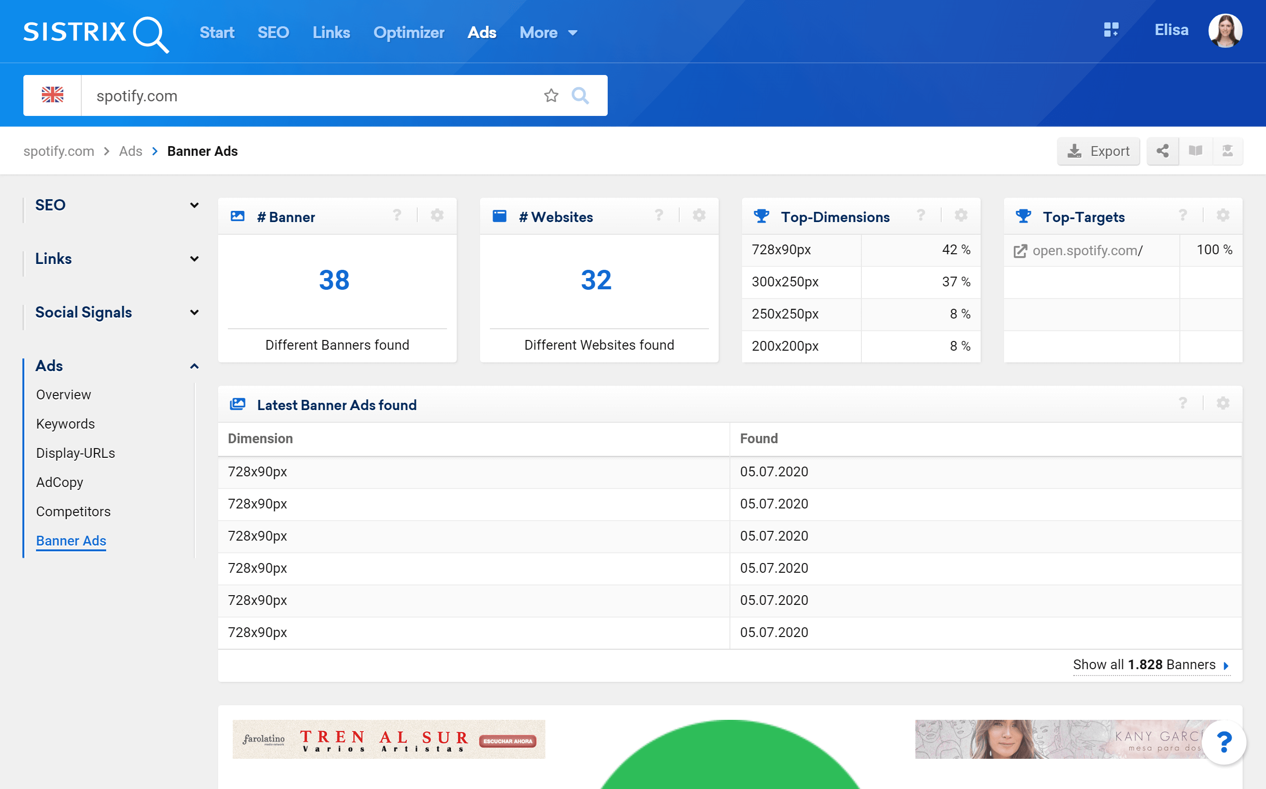 Banner ads feature in the SISTRIX Toolbox