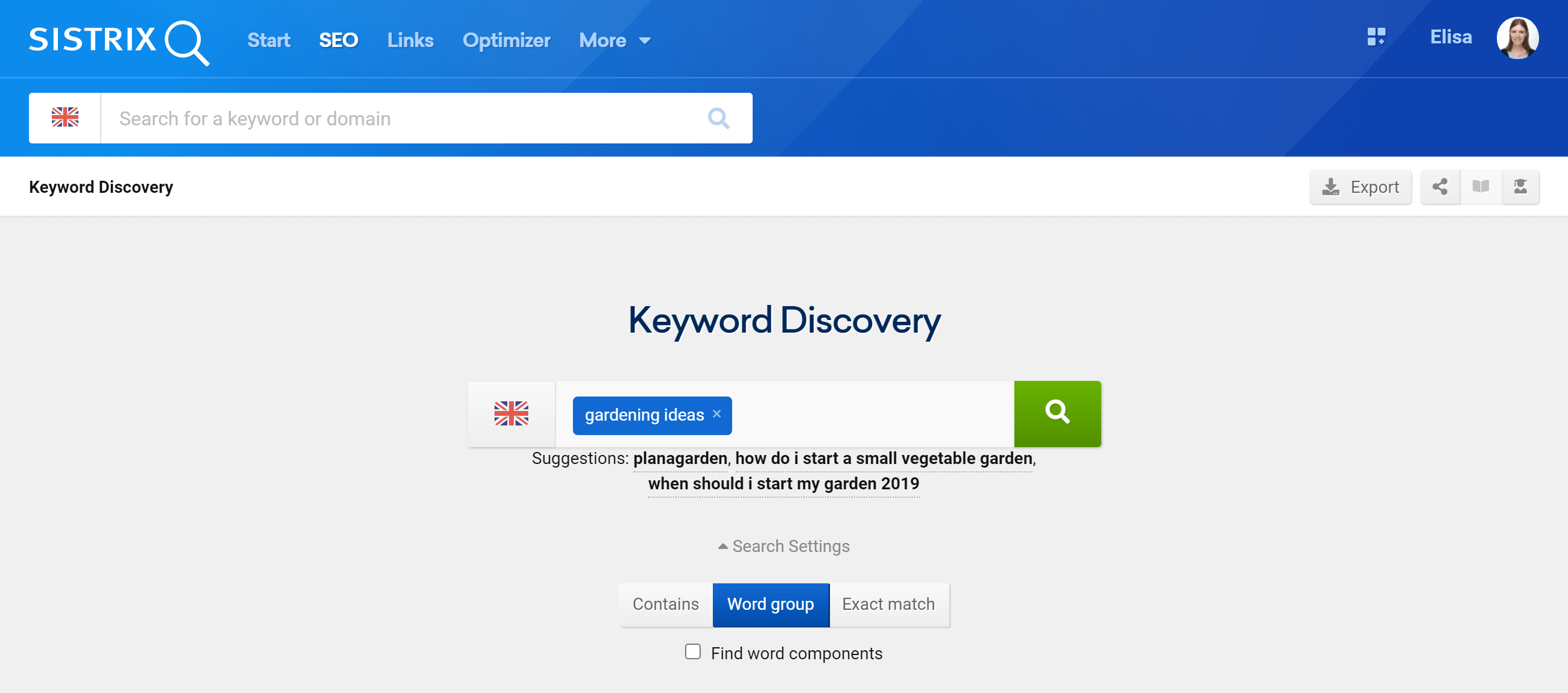 The Keyword Discovery tool in the SEO module