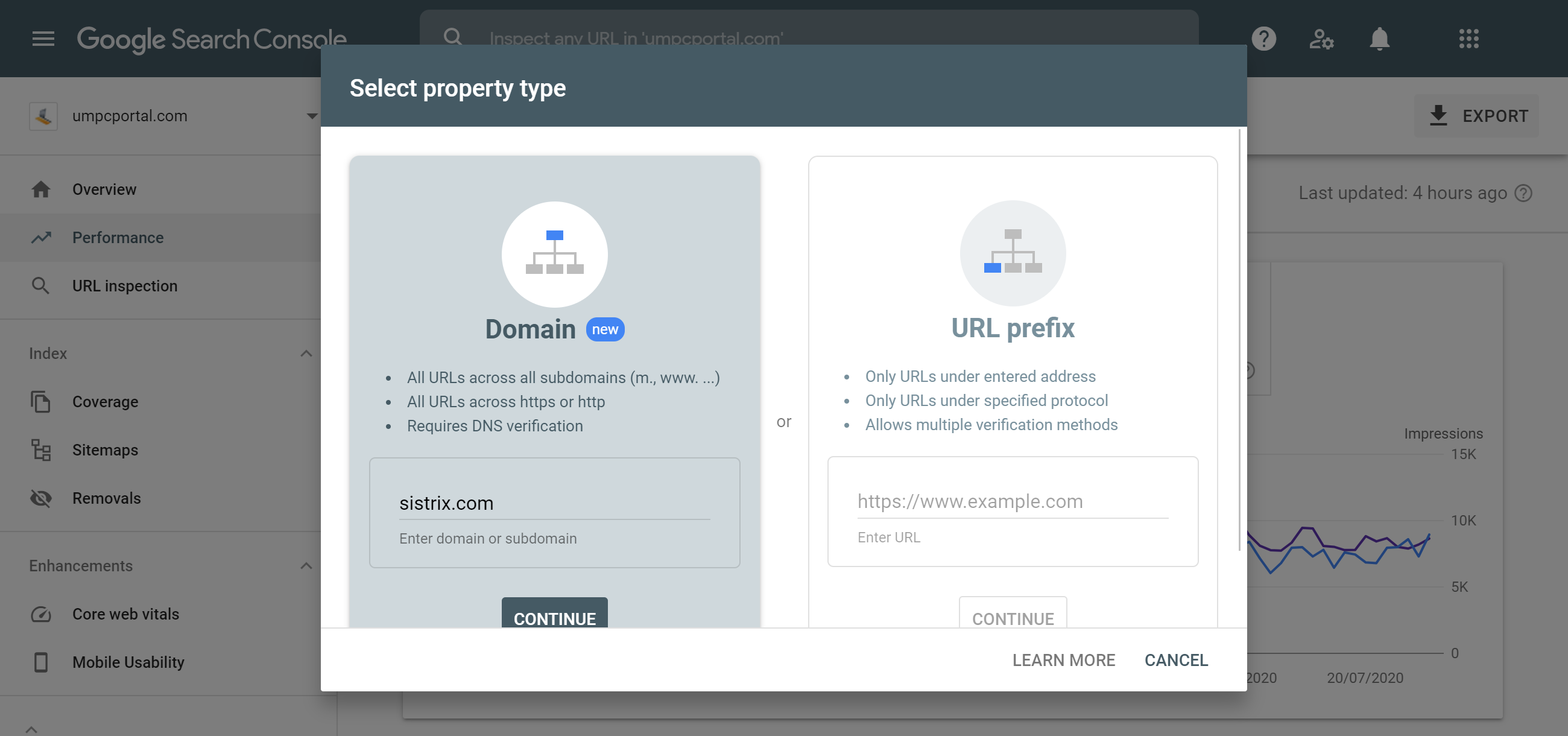 Google Search Console Add Property feature.