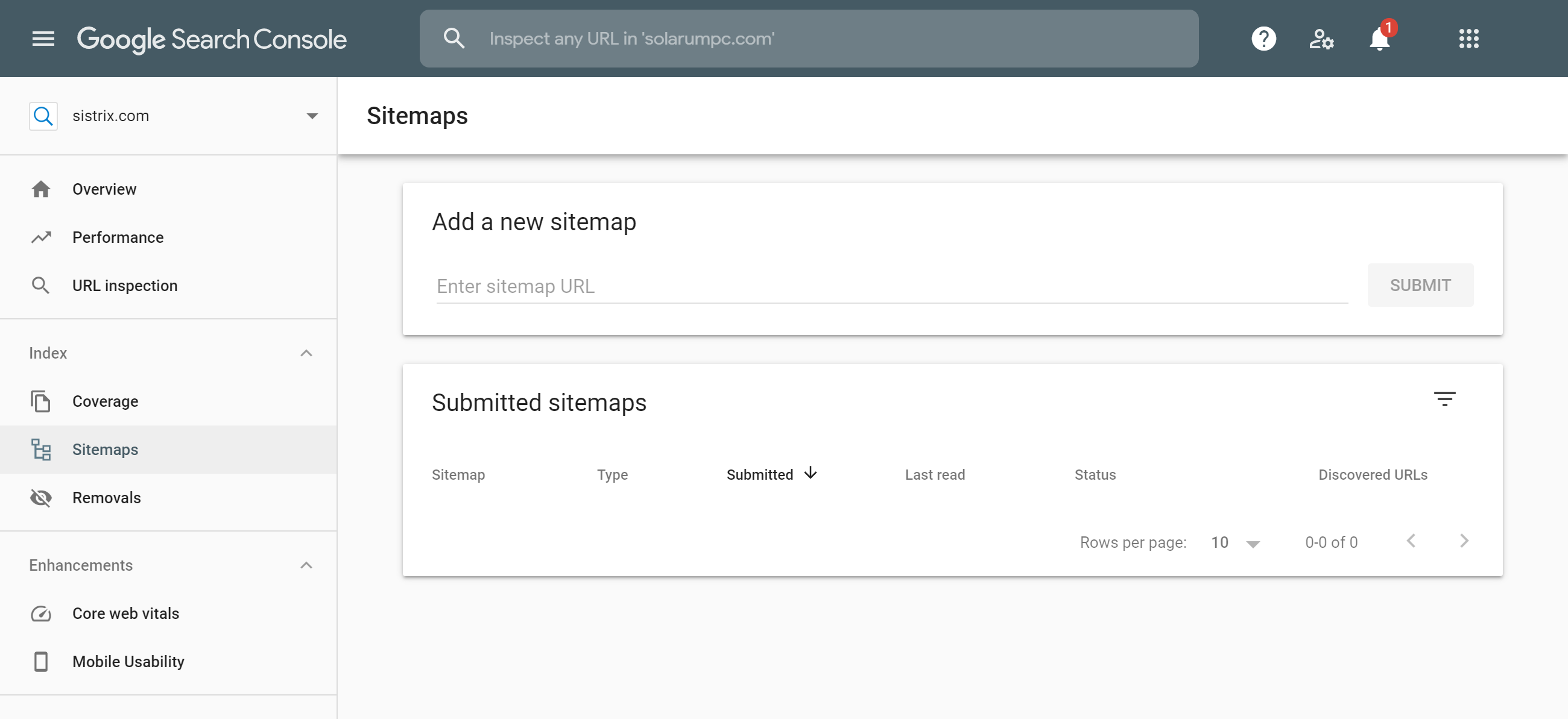Google Search Console Sitemaps feature