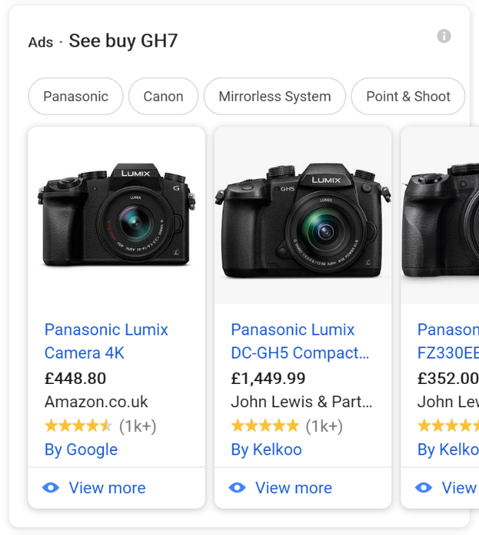 Example search result with Google Shopping boxes