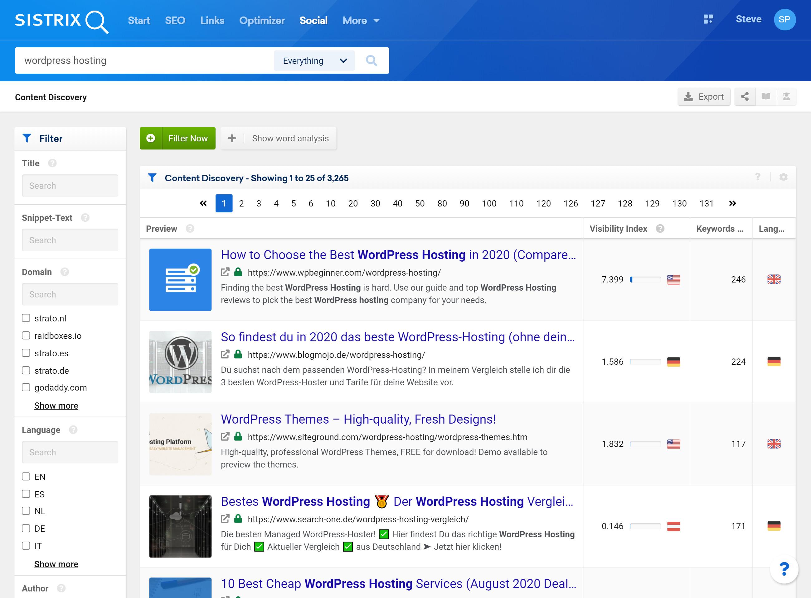 SISTRIX content discovery